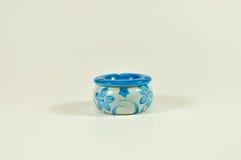 White and blue decorated ceramic ashtray Stock Photos