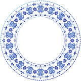 White-blue decorative gzhel frame Royalty Free Stock Image