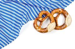 White blue diamond pattern with two pretzels Stock Photo