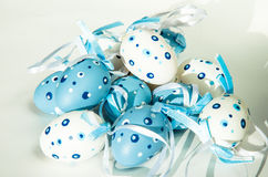 White blue easter eggs Stock Images