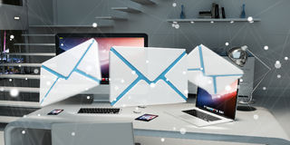 White and blue email flying over desktop 3D rendering Stock Photos