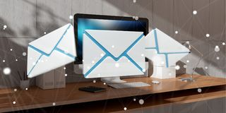 White and blue email flying over desktop 3D rendering Stock Image
