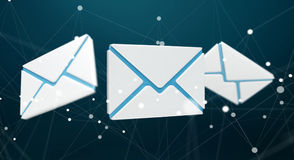 White and blue email icon 3D rendering. On blue background Stock Image