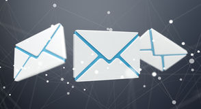 White and blue email icon 3D rendering. On dark background Stock Photos