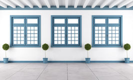 White and blue empty room. With three windows - 3D Rendering Royalty Free Stock Photos