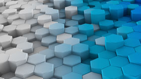 White blue extruded hexagons 3D render. White blue extruded hexagons. 3D render abstract background Royalty Free Stock Photo