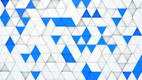 White and blue extruded triangles 3D render. White and blue extruded triangles. 3D render abstract geometric background Stock Images