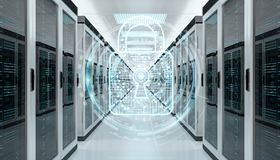 Firewall activated on server room data center 3D rendering Royalty Free Stock Photo