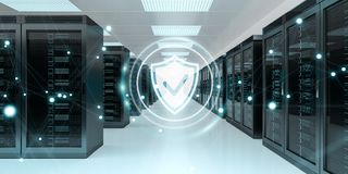 Firewall activated on server room data center 3D rendering Royalty Free Stock Images