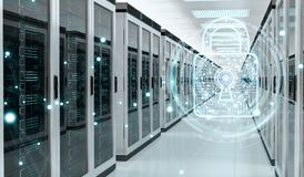 Firewall activated on server room data center 3D rendering Royalty Free Stock Photos