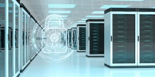 Firewall activated on server room data center 3D rendering. White and blue firewall activated on server room data center 3D rendering Royalty Free Stock Images