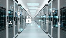 Firewall activated on server room data center 3D rendering. White and blue firewall activated on server room data center 3D rendering Royalty Free Stock Image