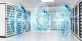 Firewall activated on server room data center 3D rendering Stock Images