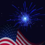 White blue fireworks and United States flag. United States flag and celebration light blue fireworks vector background. Independence Day, 4th of July holidays Stock Image