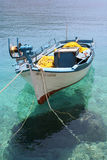 White & Blue Fishing Boat. Small fishing boat moored at Porto Vromi, Zante (Zakynthos stock photos