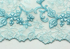 White and blue flower lace material texture macro shot Stock Photography