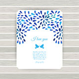 White and blue flower ornament greeting card .Vector gzhel. Vect Stock Images