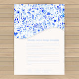 White and blue flower ornament.Vector gzhel. Vector watercolor t Stock Photos