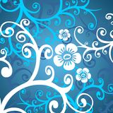 White-blue flowers. Fragments of the white stylized flowers on a dark blue background Stock Photos