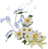 White and blue flowers curl stock illustration