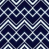 White-blue geometric pattern. Seamless ethnic background Stock Photo