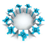 White and blue gift boxes circle Royalty Free Stock Photos