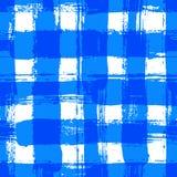 White Blue Gingham Pattern Grunge Brush Strokes Royalty Free Stock Image