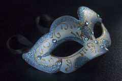 White blue glitter masquerade mask party Royalty Free Stock Image