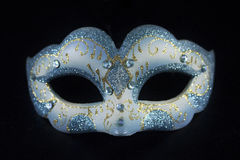 White blue glitter masquerade mask party Stock Photography