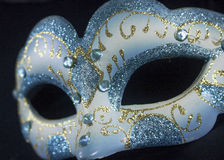 White blue glitter masquerade mask party Royalty Free Stock Photography