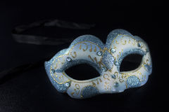 White blue glitter masquerade mask party Royalty Free Stock Images
