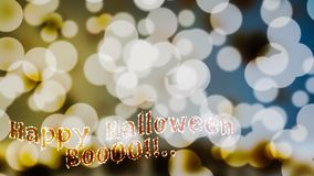 Blur bokeh light effect.and Halloween wordn Royalty Free Stock Photography