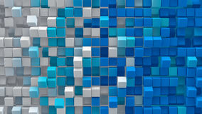White blue gradient cubes 3D render Royalty Free Stock Images