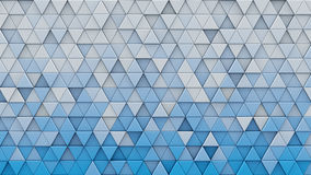 White blue gradient triangles extruded 3D render. White blue gradient triangles extruded. Abstract geometric background. 3D render illustration Royalty Free Stock Images