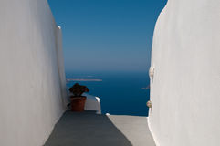 White and blue of greece. A beautiful view of aegean sea and the traditional white house from Santorini island, Greece Stock Image