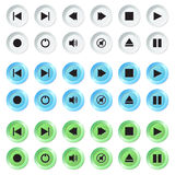White, blue and green navigation buttons set. Stock Photo
