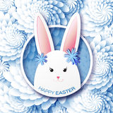 White Blue Greeting card with Happy Easter - with white Easter rabbit. Spring Funny Bunny. Easter Bunny. Easter Egg. Vector design illustration royalty free illustration