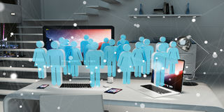 White and blue group of people flying over desktop 3D rendering Stock Image
