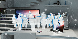 White and blue group of people flying over desktop 3D rendering Royalty Free Stock Photo