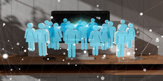 White and blue group of people flying over desktop 3D rendering. White and blue group of people flying over modern desktop interior 3D rendering Stock Image