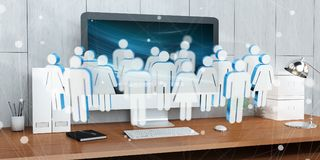 White and blue group of people flying over desktop 3D rendering. White and blue group of people flying over modern desktop interior 3D rendering Stock Photography