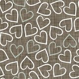 White and blue hearts on brown scrapbook backgroun. Blue beige brown white romantic seamless pattern with messy border hearts in winter colors Stock Image