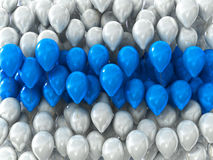 White and blue holiday balloons as the backdrop Stock Photos