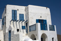 White and blue house Stock Photo