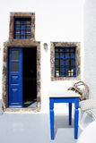 White and Blue house in Greece. Picture taken in the volcanic island of Santorini, Greece Royalty Free Stock Photography