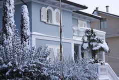 White and blue house and snowy plants Royalty Free Stock Photo