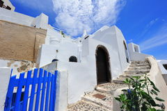 White and blue houses in Oia village, Santorini Royalty Free Stock Photography