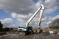 White with blue hydraulic crane Stock Photography