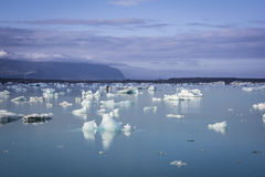 White and blue ice at Icelake Jokulsarlon. Iceland royalty free stock photo