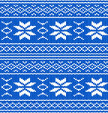 White and blue knitted seamless pattern stock images